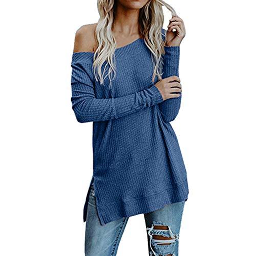 BaZhaHei Mode Frauen Schulterfrei Farbblock Pullover Knöpfe Gestrickte Lange Pullover Top Bluse Langarmshirts Hemd Pullover Sweatshirt Oberteil Shirts