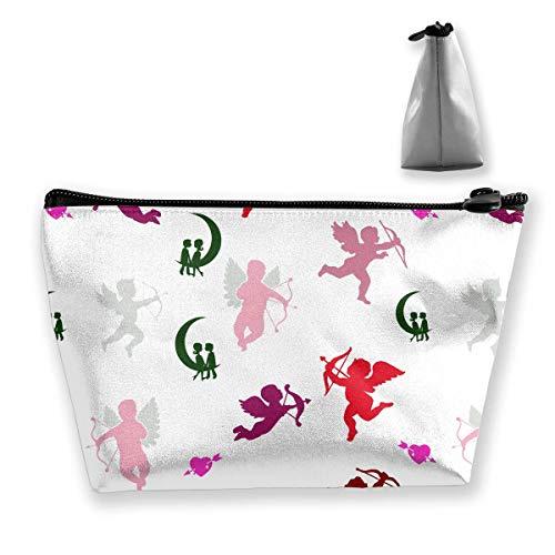 Make-up Tasche Reisekoffer Sammlung von Engel Silhouetten Muster Gedruckt Organizer Lagerung Für Frauen Mädchen Stilvolle (Engel Sammlung)