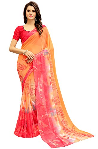 Navya Women's Georgette Saree With Blouse Piece (Nav310_Multi-Coloured)