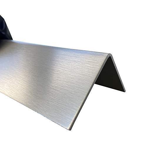 Edelstahl Winkel, V2A, 60x20 mm, 1000 mm lang, K240 geschliffen, 1,5 mm stark, Dekor außen, Einseitig mit Schutzfolie