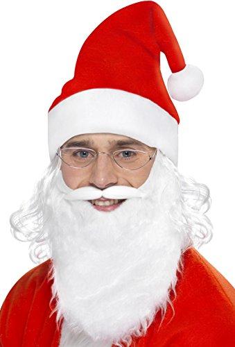 Jolly Kostüme Elf Erwachsenen (Smiffys, Herren Weihnachtsmann Sofort Kit, Bart, Brille und Mütze mit Haar, One Size, Weiß-Rot,)