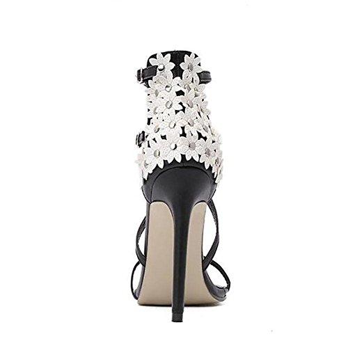 Été Cuir Mode féminine Simple Toes décoration florale Bare Sandals Cross Strap Stiletto 37