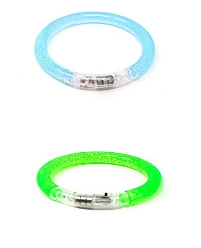 1 Blau 1 Grün LED-Blasen-Armband-Glühen Belichtete Pulsierende Bunte Leuchten Party-Schlag-blinkendes Armband-Armband das Für Tänze Wiederverwendbar Ist Ereignis-Partys Raves Kids Adult