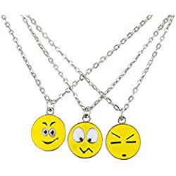 LUX accesorios plateado Emoji Smiley Faces Chic collar BFF (3 unidades)