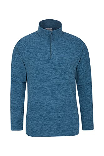 Mountain Warehouse Snowdon Mens Micro Fleece - Warm, Breathable All Season Coat, Quick Drying, Zip Collar Fleece Jacket, Soft & Smooth Top - for Travelling & Daily Use Petrol Blue Small
