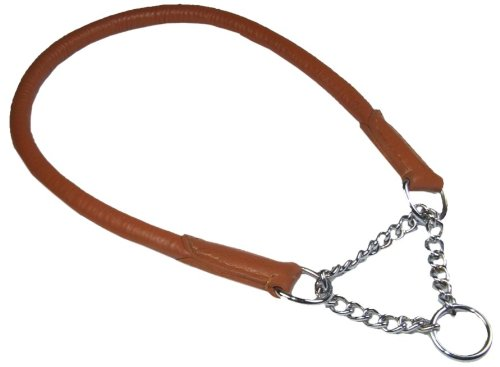 rolled-leather-super-soft-half-check-dog-collar-in-tan-5-xlarge-fits-upto-22-55-cm-including-the-cha