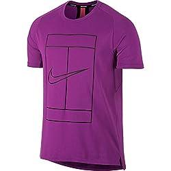 Nike M Nkct Dry Top Baseline Rib Camiseta de Tenis, Hombre, Morado (Vivid Purple/Black), L