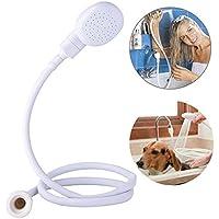 Ducomi Dusche Notebook-Armatur - Brause-Mischbatterie mit Brause Schlauch -1 Meter - Duschkopf Rückwärtswaschbecken mit Sockel Universal-Wasserhahn - Für Waschen Hunde und Haar in insgesamt Komfort