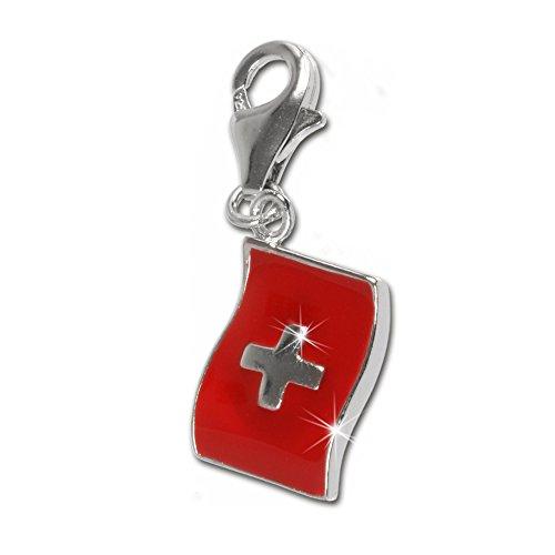 SilberDream Anhänger Charm Flagge Schweiz rot 925 Echt Silber Schmuck D2FC703