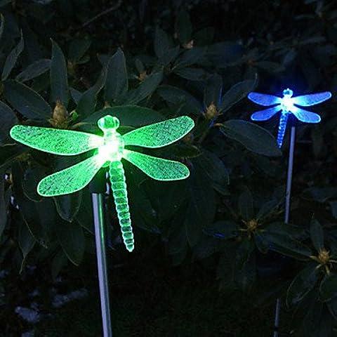 FVLU Cambiar el estilo de color de Solar Garden Light Dragonfly Estaca