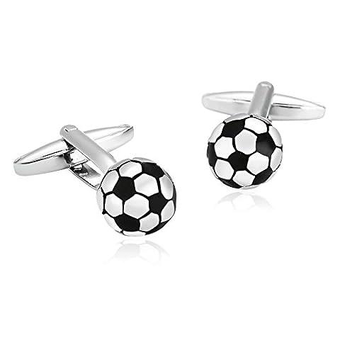 Epinki Herren Edelstahl Manschettenknöpfe Silber Schwarz Fußball Kugel Form Weihnachten Geschenke Manschetten Knöpfe Für Hochzeit