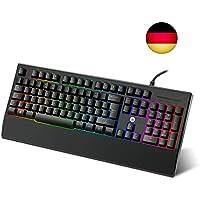 WEYO RGB LED Tastatur Beleuchtet Gaming Tastatur Kabelgebunden Wasserdicht Deutsch Tastatur für Windows/Mac OS, Büro und Hause, Schwarz