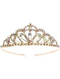 Cristal de chispa Colorido Piedras del Strass Tiara Corona Peine Diamante Princesa Tiara Casco nupcial Boda Tiara nupcial
