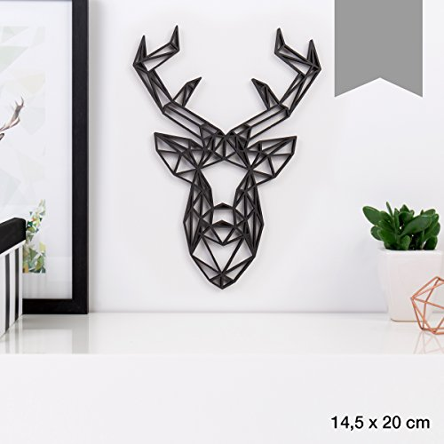 KLEINLAUT 3D-Origamis aus Holz - Wähle Ein Motiv & Farbe - Hirschkopf - 14,5 x 20 cm (M) - Grau