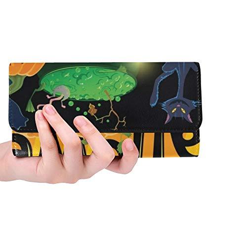 Einzigartige Karikatur-Halloween-Gruß-Karten-Frauen-dreifachgefaltete Mappen-Lange Geldbeutel-Kreditkarte-Halter-Fall-Handtasche