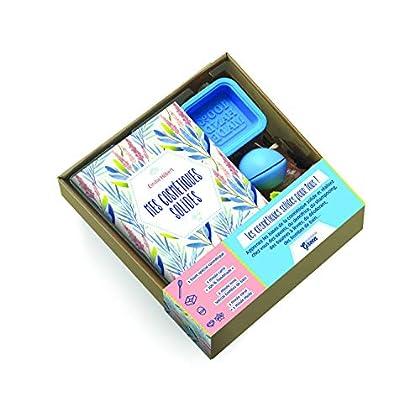 Mon coffret cosmétiques solides : Contient : 1 livre, 1 fouet spécial cosmétiques, 1 moule carré, 1 moule rond, 1 moule coeur et 1 moule étoile