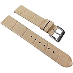 Eulit Rainbow Replacement Band Watch Band Leather Kalf Strap Beige 390_21S, Abutting:12 mm