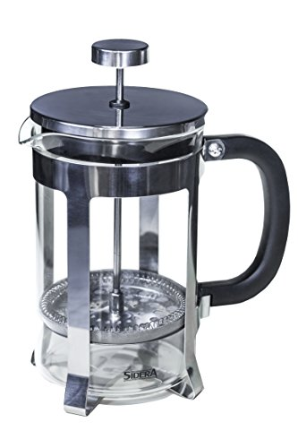 Sidera Kaffeebereiter, French Press aus Glas mit verchromtem Edelstahlrahmen, doppeltem Filter, groß, 0,8 l / 800 ml ( 6 Tassen )