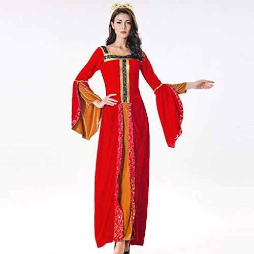 Bearbelly - Damen Mittelalterliche Vampirin Kostüm Kleid Mittelalter Kleid bodenlangen Cosplay Dress Age Mittelalter Kleidung Renaissance Kostüm Lang Halloween Kostüm (1920 Vampir Kostüm)