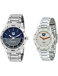 Om Collection Couple White And Blue Dial With Stainless Steel Strap Watches Combo Set Of 2 Pcs-omwp-2