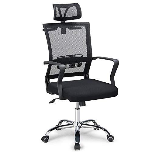 Yaheetech Bürostuhl Ergonomischer Schreibtischstuhl Chefsessel Bürodrehstuhl Verstellbare Kopfstütze, Sitzhöhe und Wippfunktion, Belastbar bis 120kg