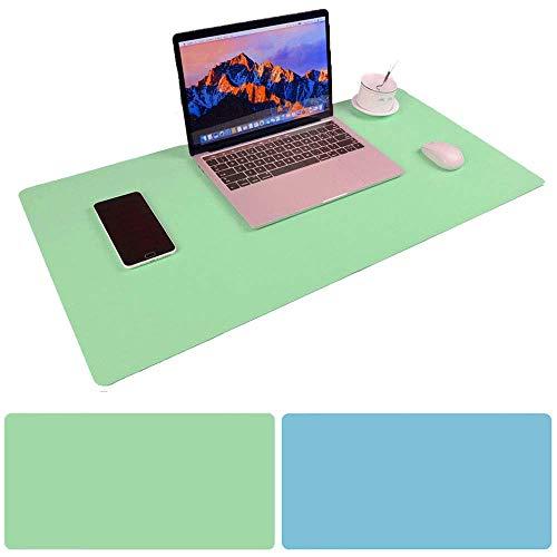 Schreibtischunterlage Multifunktionale Mauspad, 31,5 x 15,75 Zoll Rutschfeste Pu-leder Schreibtisch-maus-matte Wasserdichte Schreibtisch Pad Protector Schreibmatte - Mintgrün + Himmelblau