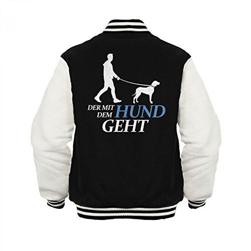 Fashionalarm Herren College Jacke - Der mit dem Hund geht | Varsity Baseball Jacket | Sweatjacke als Geschenk Idee für Hundebesitzer, Farbe:schwarz / weiß;Größe:L (Varsity Jacke Hund)