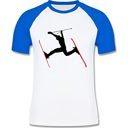 Wintersport - Skifahren Skisprung Ski - zweifarbiges Baseballshirt für Männer Weiß/Royalblau