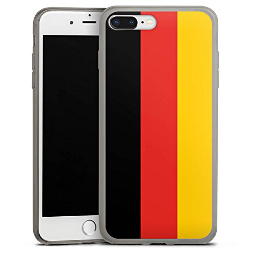 Apple iPhone 8 Plus Slim Case transparent anthrazit Silikon Hülle Schutzhülle Germany Deutschland Flag