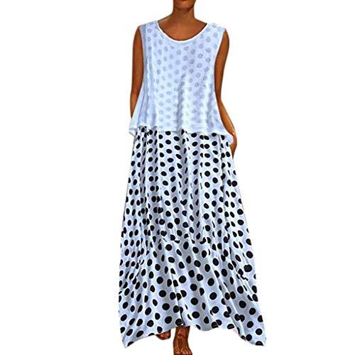 Zegeey Damen Kleid Retro ÄRmellos V-Ausschnitt BöHmen Blumen Drucken Sommer Maxikleid Sommerkleider Strandkleider Blusenkleid(A4-Weiß,EU-38/CN-L)