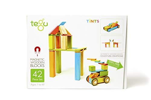 8 Stück Tegu Pocket Pouch Magnetisches Holzblock-Set - Natürlich