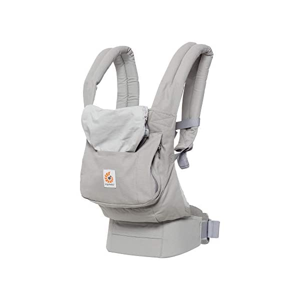 "Ergobaby Front and Back Original Baby Carrier, Pearl Grey Ergobaby Ergonomic baby carrier - ergonomic for baby with wide deep seat for a spread-squat, natural ""m"" seated position. Baby carrying system with 3 carry positions:  front-inward, hip and back. from baby to toddler: 5.5*-20 kg Maximum wearing comfort - lumbar support waist belt (adjustable from 66-140 cm / 26-52 in) that can be adjusted to the height of the carry position. 4"