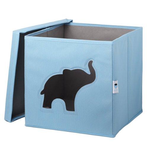 STORE.IT 750046 Spielzeugkiste mit Sichtfenster, 30 x 30 x 30 cm, Elefant, blau