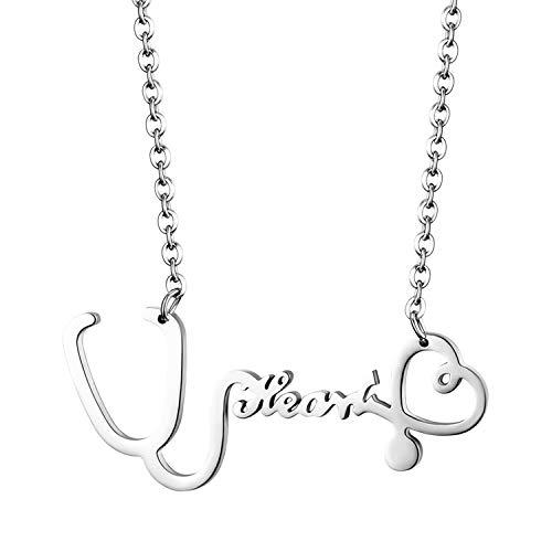 JewelryWe Schmuck Edelstahl Medical Stethoskop Love Herz Anhänger mit 19 Zoll Kette, Einzigartige Krankenschwester Arzt Medizin Halskette für Damen Frau, Silber