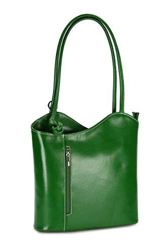 BELLI ital. Leder Handtasche Belli Backpack Damen Rucksack Leder - Farbauswahl - aus feinstem Leder - 28x28x8 cm (B x H x T) Grün