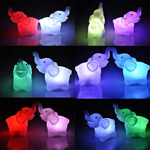 7 colores que cambian de luz de noche LED lindas lámparas de noche de animales para niños dormitorio niños luces de noche decoración del hogar, elefante