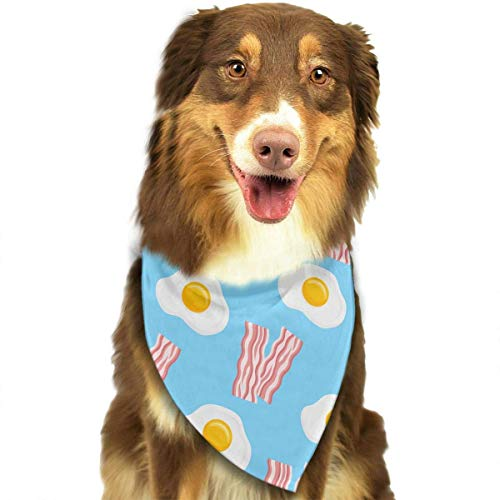 Wfispiy Bacon Strips and Fried Eggs Pet Dog Bandanas Triangle Bibs Scarf Accessories for Medium to Large Size (Bacon Dog Kostüm)