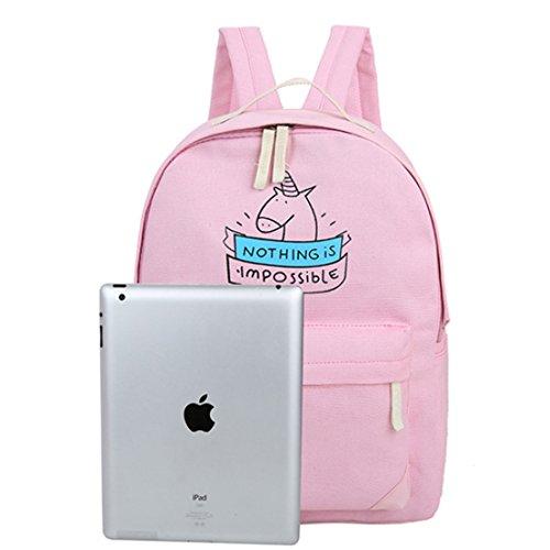 WOLFBUSH 2Pcs Backpack Set Schultasche Studenten Rucksack Rucksack fuer Jugend - Dunkelblau Rosa