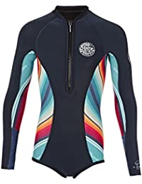 2017 Rip Curl Junior Girls G-Bomb 1mm Long Sleeve Spring Shorty SLATE WSP4LJ Age / Size - 10 Years