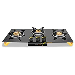 Vidiem Glass 3 Burner Gas Stove, Black (VDM_AIR ORO 3 B _BLK)
