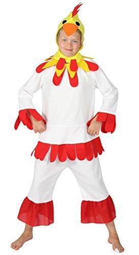 Weißen Kind Hahn Kostüm - Foxxeo Kostüm Huhnkostüm Hühnerkostüm Huhn Hahn für Kinder weiß Kinderkostüm Größe 122-128