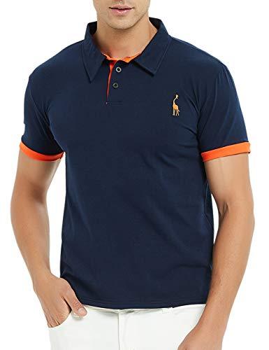 GLESTORE Herren Poloshirt Einfarbig Basic Kurzarm Polohemd M - - Weg Golf Kostüm