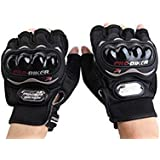 Probiker Half Finger Motorcycle Riding Gloves (Black, Large)