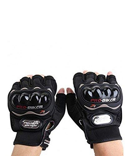 Probiker Leather Half Finger Motorcycle Gloves (Black, L)