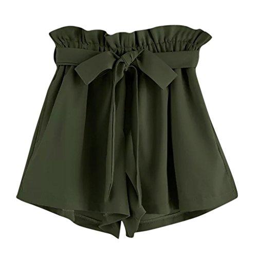 UFACE Frauen-Normallack-Breites Bein Keucht Frauen-Retro- Feste zufällige geeignete Elastische Taillen-Taschen-Kurzschluss-Hosen (L/(42), Grün)
