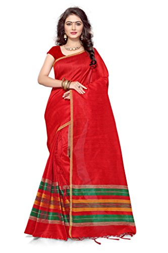 S. Kiran's Women's Red Artificial Khecha Mekhla Chador - Mekhela Sador