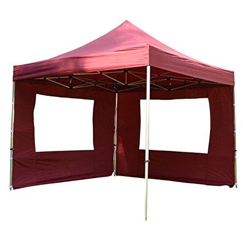 Burgund Metall (Nexos Hochwertiger Falt-Pavillon Partyzelt mit 4 Seitenteilen PROFI Ausführung für Garten Terrasse Feier Markt als Unterstand Plane wasserdichtes Dach 3 x 3 m burgund)