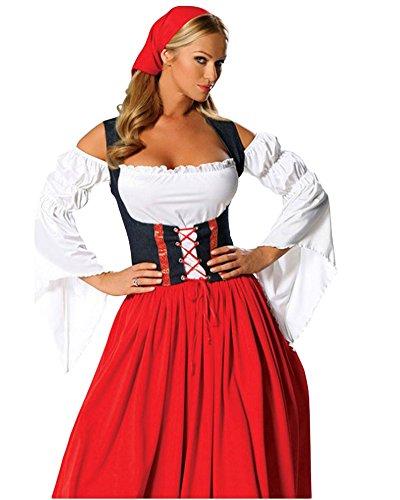 Donna Lungo Vestito Costumi Oktoberfest Birra Halloween Cosplay+Cappello Rosso L