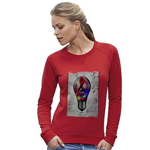 TWISTED ENVY Femme Sweat-Shirt Musical Lightbulb imprimé Rouge