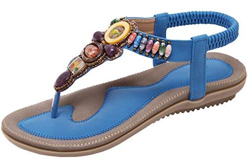 BIGTREE Femmes Tongs Sandales Plage Bohème Multicolore Perles Confortable Semelle Souple Élastique Plat Sandales Bleu